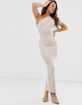 Asos Design DESIGN one shoulder minimal bandage midaxi dress-Beige