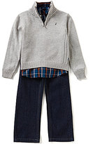 Nautica Little Boys 2T-7 Quarter-Zip Sweater, Woven Shirt, and Denim Jeans Set