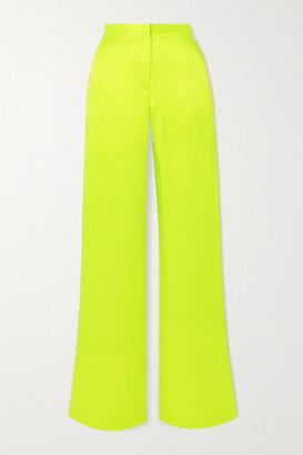 Christopher John Rogers - Neon Silk-charmeuse Wide-leg Pants - Lime green