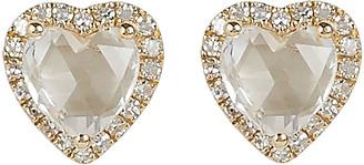 Ef Collection Topaz Heart Diamond Stud Earrings