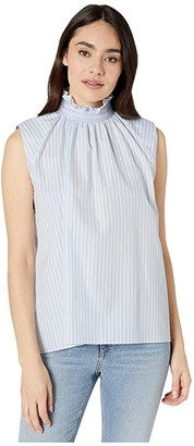 Adam Lippes Sleeveless Smocked Neck Top (Light Blue/White) Women's Clothing