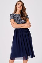 Little Mistress Luxury Briella Navy Hand-Embellished Pearl Top Midi Dress