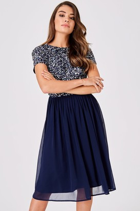 Little Mistress Luxury Briella Navy Hand-Embellished Pearl Top Midi Dress
