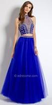 Camille La Vie Metallic Embroidered Two Piece Evening Dress