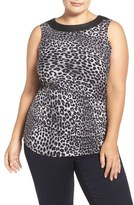 MICHAEL Michael Kors 'Panther' Print Faux Leather Trim Top (Plus Size)