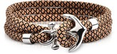 Forzieri Light Brown and Black Rope Triple Bracelet w/Anchor
