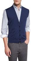 Ermenegildo Zegna Wool Cardigan Vest, American Navy