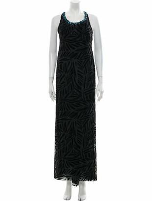Gianni Versace Scoop Neck Long Dress Black