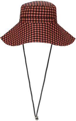 Ganni Check Wide Brim Hat