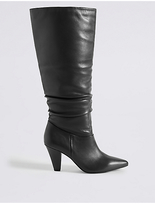 M&S Collection Leather Side Zip Knee Boots