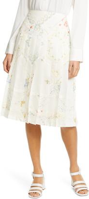 Tory Burch Carmine Pleated A-Line Skirt