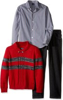 Nautica Little Boys' Toddler Three Piece Set with Woven Shirt, Striped Shawl Sweater, and Denim Jean