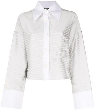 Jejia Horizontal-Stripe Cropped Shirt