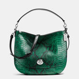 Coach Turnlock Hobo In Snake-embossed Leather