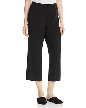 Eileen Fisher System Straight Crop Silk Pants, Regular & Petite