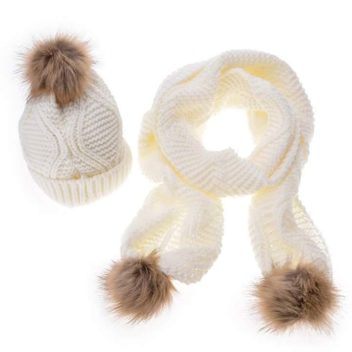 1395cc5e0 minakolife Womens Stylish Cable Winter Warm Ski Slouch Pom Pom Hat Cap +  Scarf Set