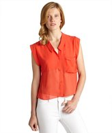 Dolce Vita red chiffon 'Carlie' sleeveless button front blouse