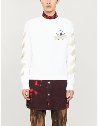 Off-White Logo-print crewneck cotton-jersey jumper