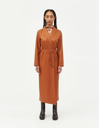 Nanushka Women's Emery Vegan Leather Wrap Dress in Burnt Orange, Size Extra Small