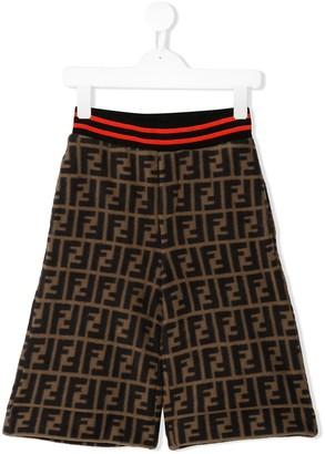 Fendi Kids FF logo print shorts