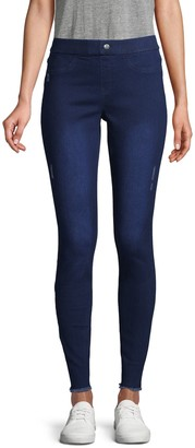 Hue Distressed Mid-Rise Jeggings
