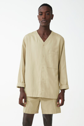 Cos V-Neck Organic Cotton-Linen Shirt Jacket