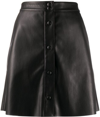 Semi-Couture leather-effect A-line skirt
