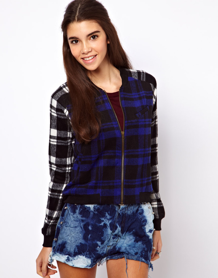 Lucca Couture Check Bomber Jacket
