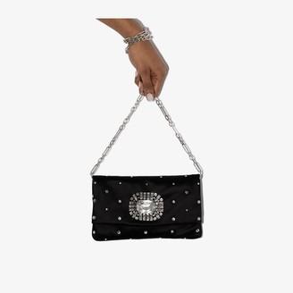 Jimmy Choo black Titania crystal embellished satin clutch bag