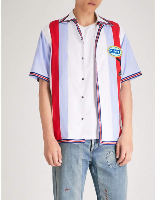 Gucci Striped cotton bowling shirt