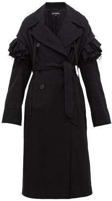 Ann Demeulemeester Detachable Frill Wool-blend Coat - Womens - Black