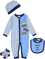 Buster Brown Blue 'Tough Like Dad' Four-Piece Layette Set