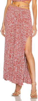 CHRISTOPHER ESBER Pleated Knit Tie Skirt in Terracotta & Dusty Blue Speckle | FWRD