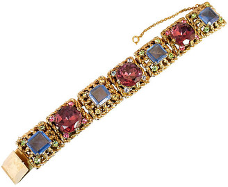 One Kings Lane Vintage 1950s Massive Rose-Pink Crystal Bracelet - Neil Zevnik - gold/pink/blue/multi