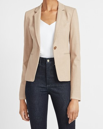 Express One Button Notch Collar Long Sleeve Blazer