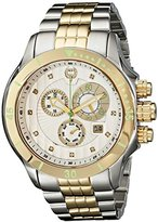 "Brillier Men's 13-04 ""Fortress"" Diamond-Accented Two-Tone Watch with Link Bracelet"