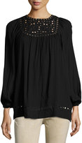 Max Studio Long-Sleeve Embroidered-Cut Top, Black