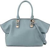 Neiman Marcus Sophia Faux-Leather Satchel Bag, Powder Blue