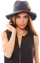 Leone Janessa Johanna Hat with Feathers in Gunmetal