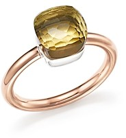 Pomellato Nudo Mini Ring with Faceted Lemon Quartz in 18K Rose and White Gold