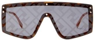 Fendi Ff-print Flat-top Metal Sunglasses - Multi