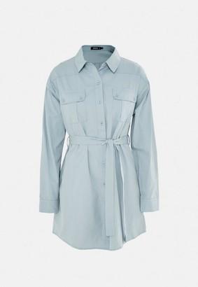 Missguided Utility Pocket Self Belt Shirt Dress