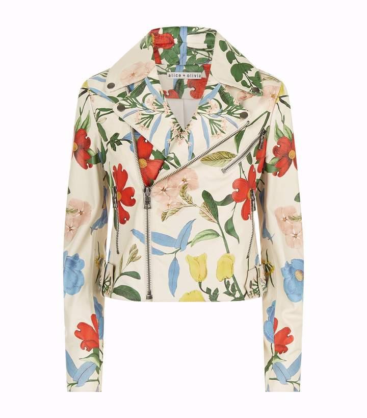 Alice + Olivia Cody Floral Leather Jacket