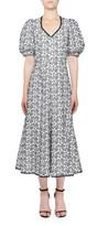 Andrew Gn V-Neck Floral-Eyelet Dress