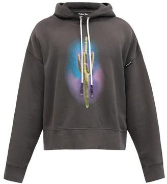 Palm Angels Cactus And Logo-print Hooded Cotton Sweatshirt - Black Multi