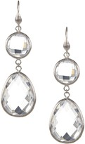 Rivka Friedman White Rhodium Clad Top Round Teardrop Bottom Rock Crystal Dangle Earrings