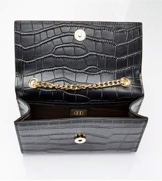 Ha Designs Personalised Initial Black/Gold Croc Chain Bag