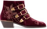 Chloé Susanna Studded Velvet Ankle Boots - Merlot