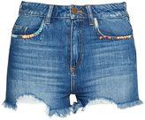 French Connection Rufaro Stitch Frayed Denim Shorts