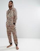 Asos Skinny Onesie In Leopard Print